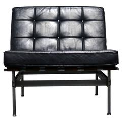 Kho Liang Ie Armchair with Black Leather, Artifort, 1959