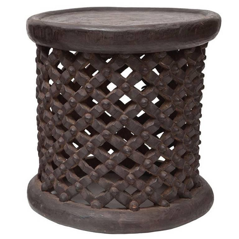 African Tall Drum Table For Sale