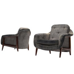 Sergio Rodrigues Set of Two 'Stella' Lounge Chairs in Rosewood