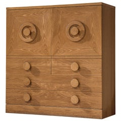 European Brutalist Highboard in Oak, 1970s