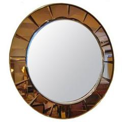 Crystal Arte Large Round Mid-Century Wall Mirror