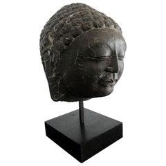Vintage Marble Buddha Head on Stand