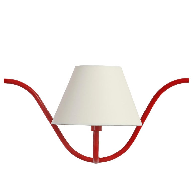 Jean Royère Style Ondulation I Wall Light in Red For Sale