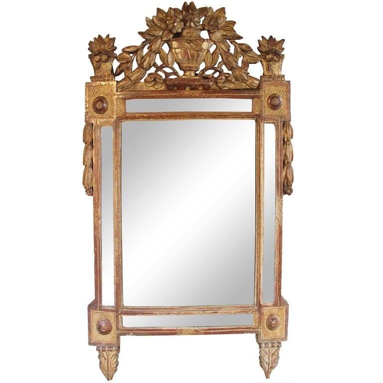 18th Century French Louis XVI Period Richly Carved Giltwood Mirror For Sale