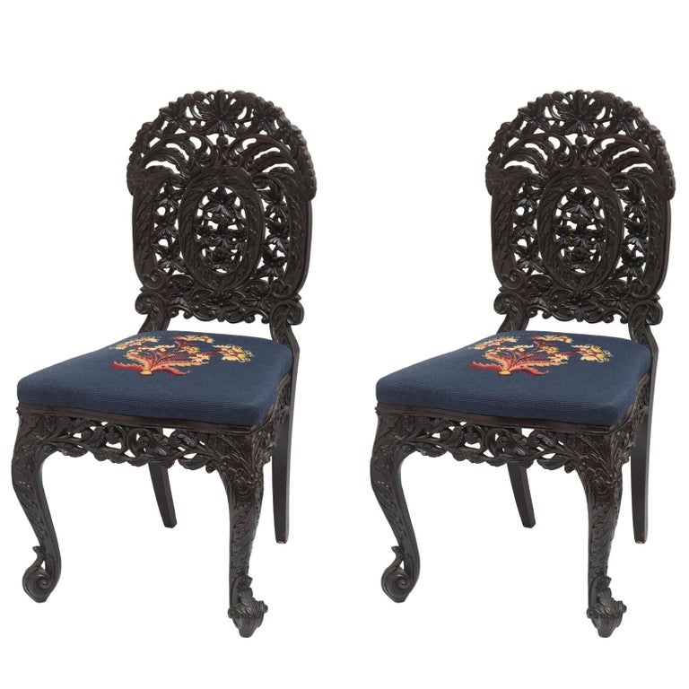 Superb Pair of  19th Century Anglo-Indian Side Chairs For Sale