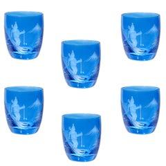 Set of Six Schnapps Glasses Blue with Skiier Decor Sofina Boutique Kitzbuehel