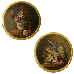 1880 French Provincial Pair of Round Still Life Oil Paintings in Gilt Frames