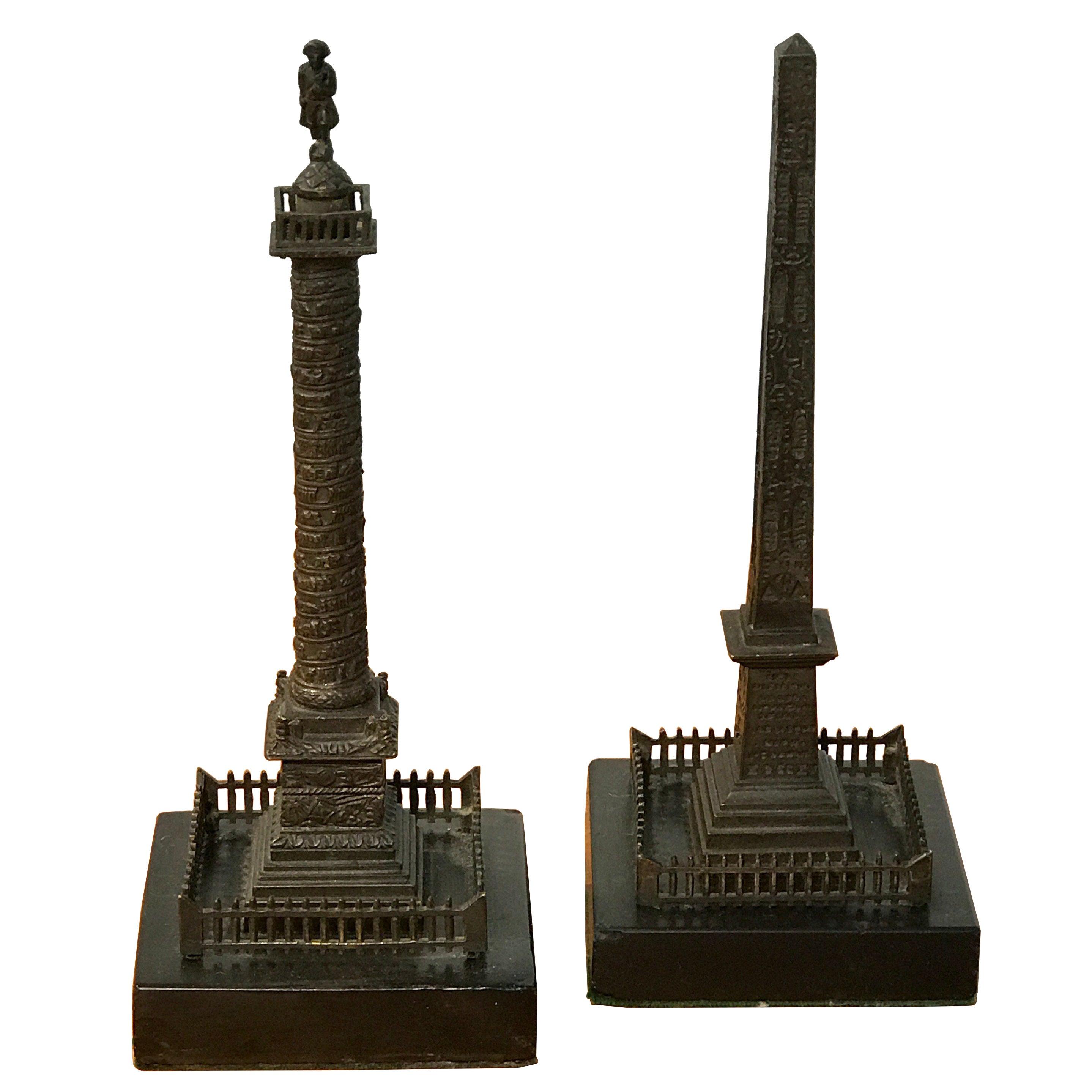 Grand Tour Models of Trajan's Column & Cleopatra's Needle, a Pair