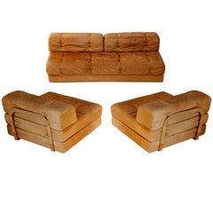 Customizable Modular Suite Sofa Daybed 'Atrium', Wittmann, Cognac Leather, 1970