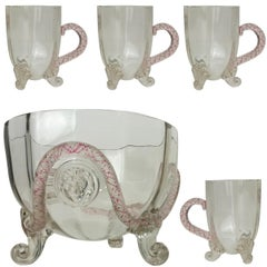 """Unique Venetian Murano Glass Set With """"Lion Mask"""" Attributed To Salviati, 1890"""
