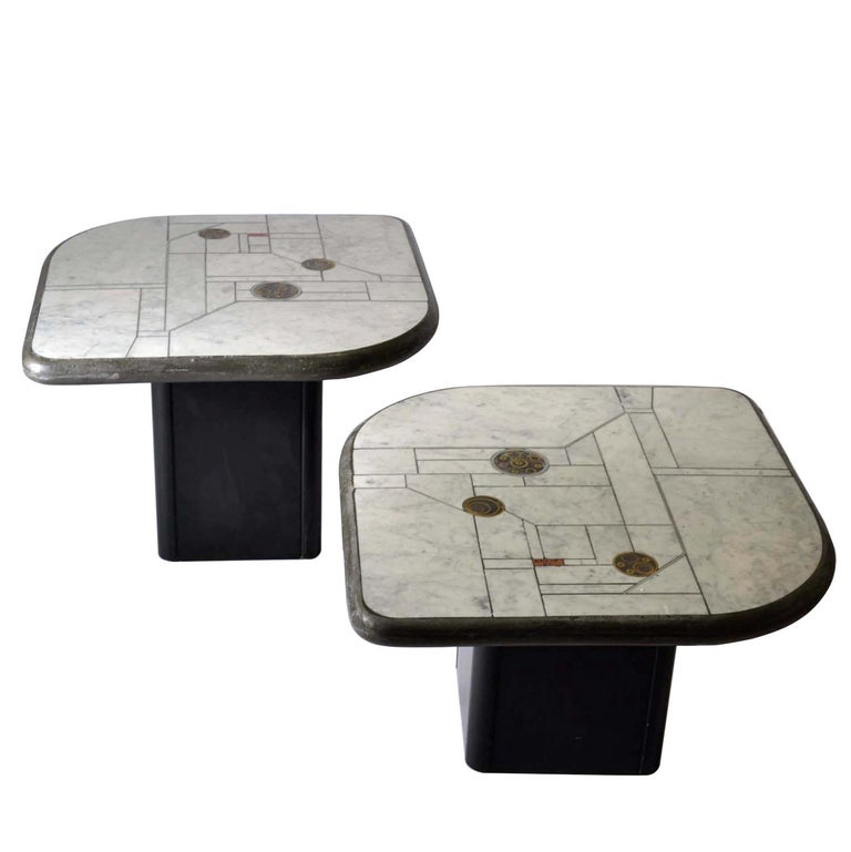 Pair of Sculptural White Mosaic Coffee Tables by Paul Kingma, Signed Kneip 1989 For Sale