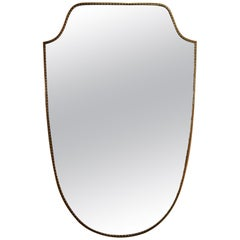 1950s Brass Shield Shaped Mirror