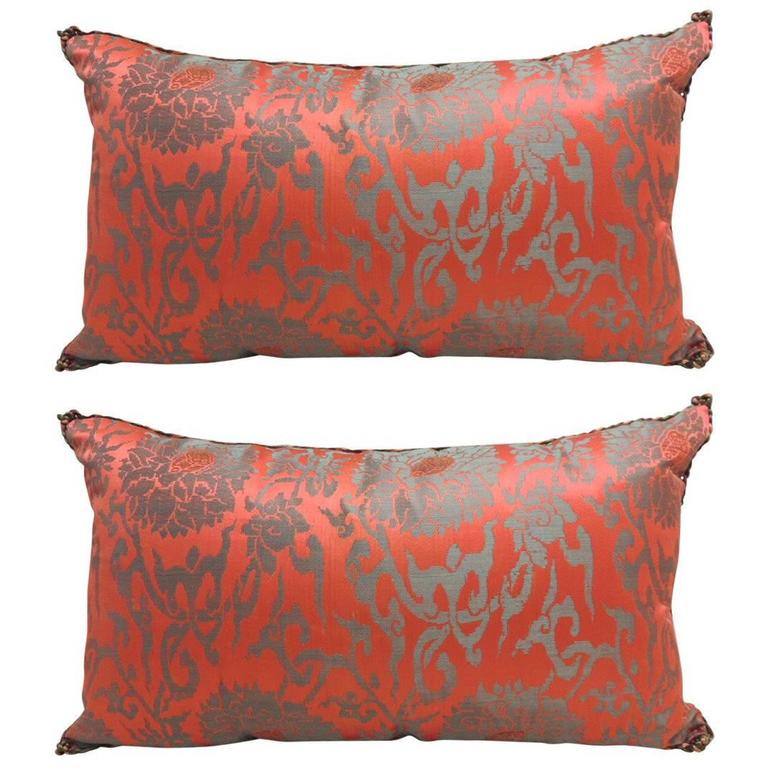 Decorative Bolster Pillow Black : Pair of Red Japanese Brocade Bolster Pillows with Decorative Rope Trim at 1stdibs
