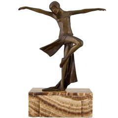 French Art Deco Bronze Sculpture Dancing nude by  C.J.R. Colinet  1930