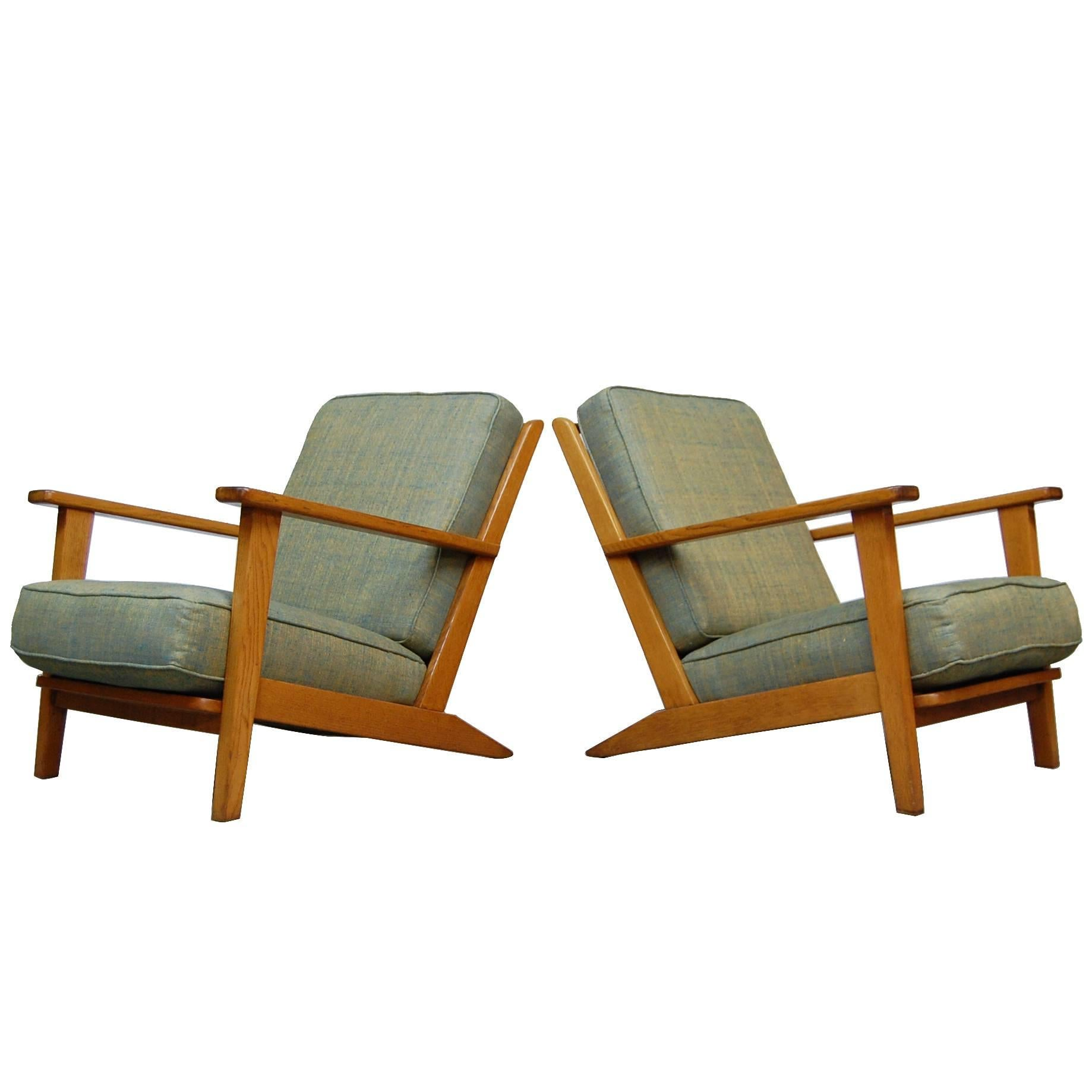 Pair of Modernist Lounge Chairs from France