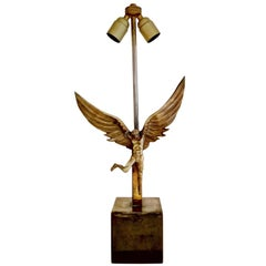 Icarus Fall Bronze Table Lamp by Monique Gerber, France, 1970s