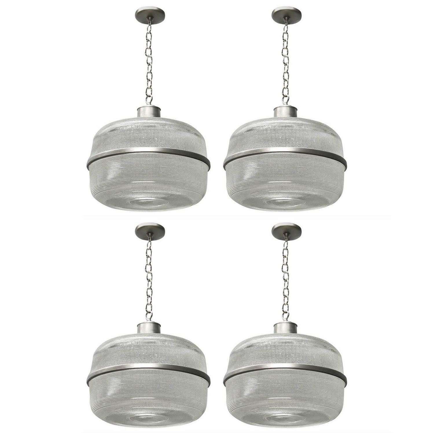 Four Ceiling Fixture in Holophane Glass Circa 1940 Made