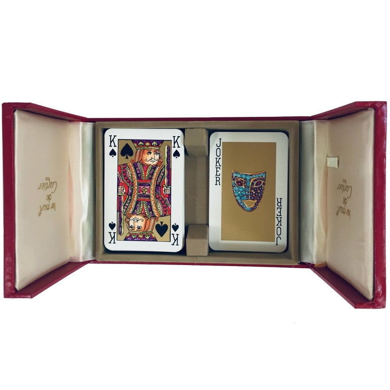 Must de Cartier Paris Vintage Playing Poker or Bridge Cards in Red Box For Sale