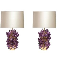 Amethyst Rock Crystal Bubble Lamps by Phoenix