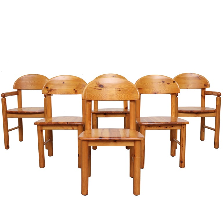 Set of 6 Rainer Daumiller Style Pine Dining Chairs For Sale