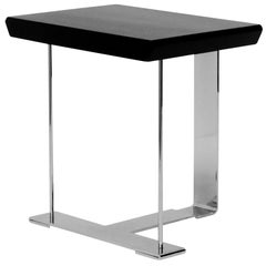 'SN3' Wood and Chrome Table in the Manner of Pierre Chareau