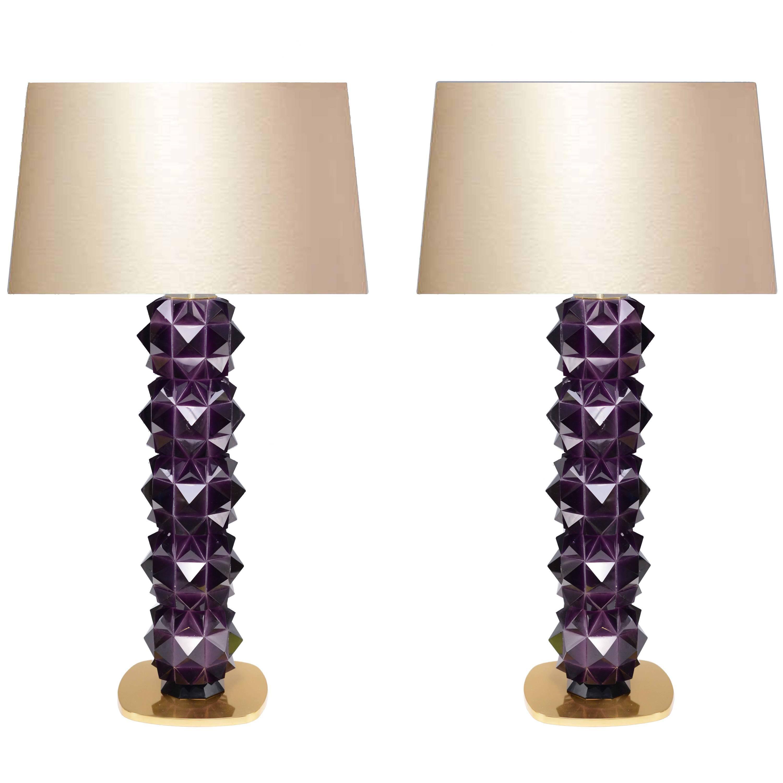 Pair of Faceted Amethyst Rock Crystal Quartz Lamps