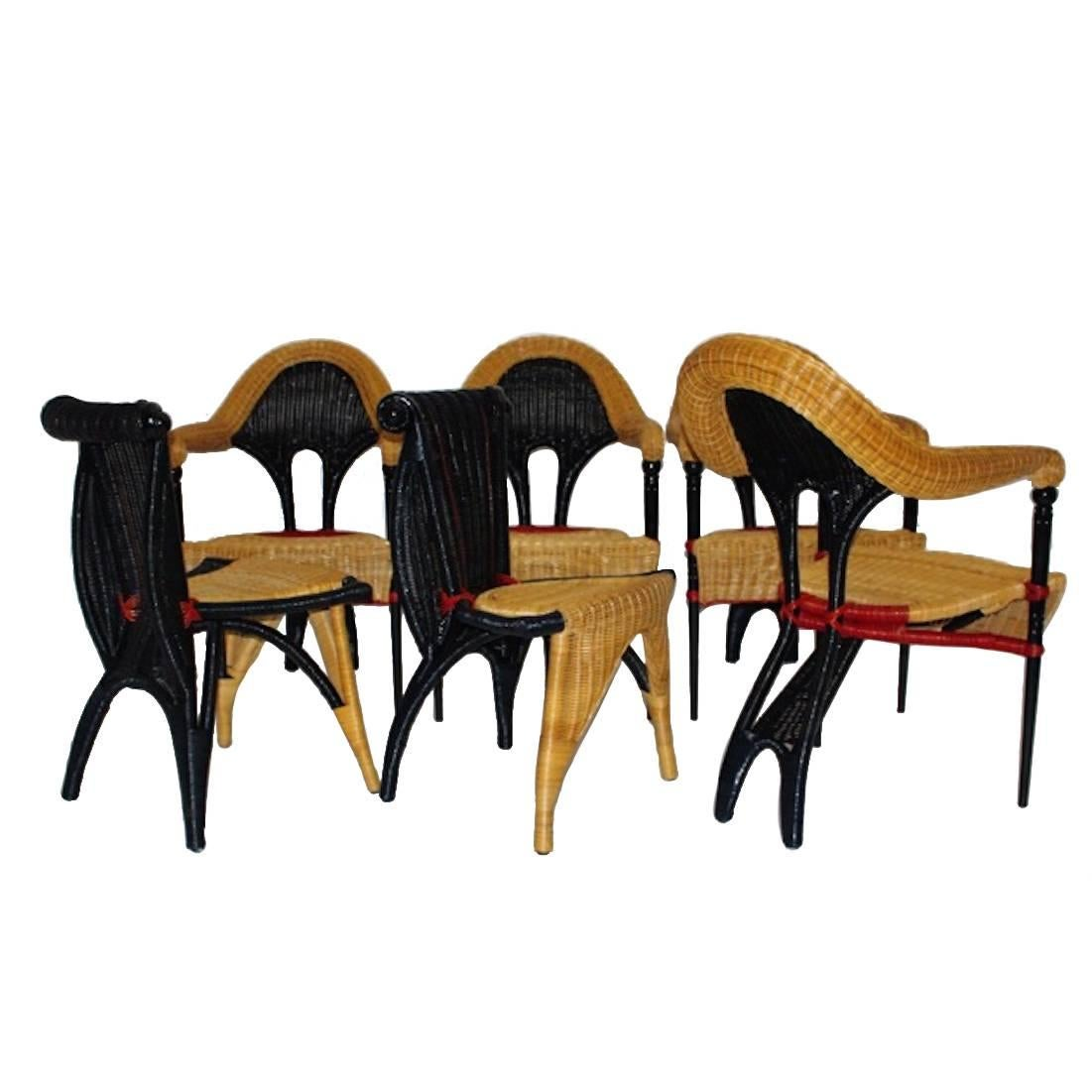 Postmodern Vintage Rattan Six Dining Chairs by Borek Sipek Czech Republic 1988
