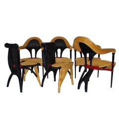 Modern Vintage Rattan Six Dining Chairs by Borek Sipek Czech Republic 1988