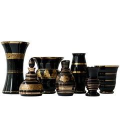 Set of Eight Booms Glass Vases, Belgium