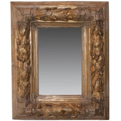 French Gilt Carved Wood Oak Leaf and Acorn Framed Mirror