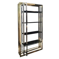 Impressive 1970s Interlocking Brass and Chrome Frame Bookshelf