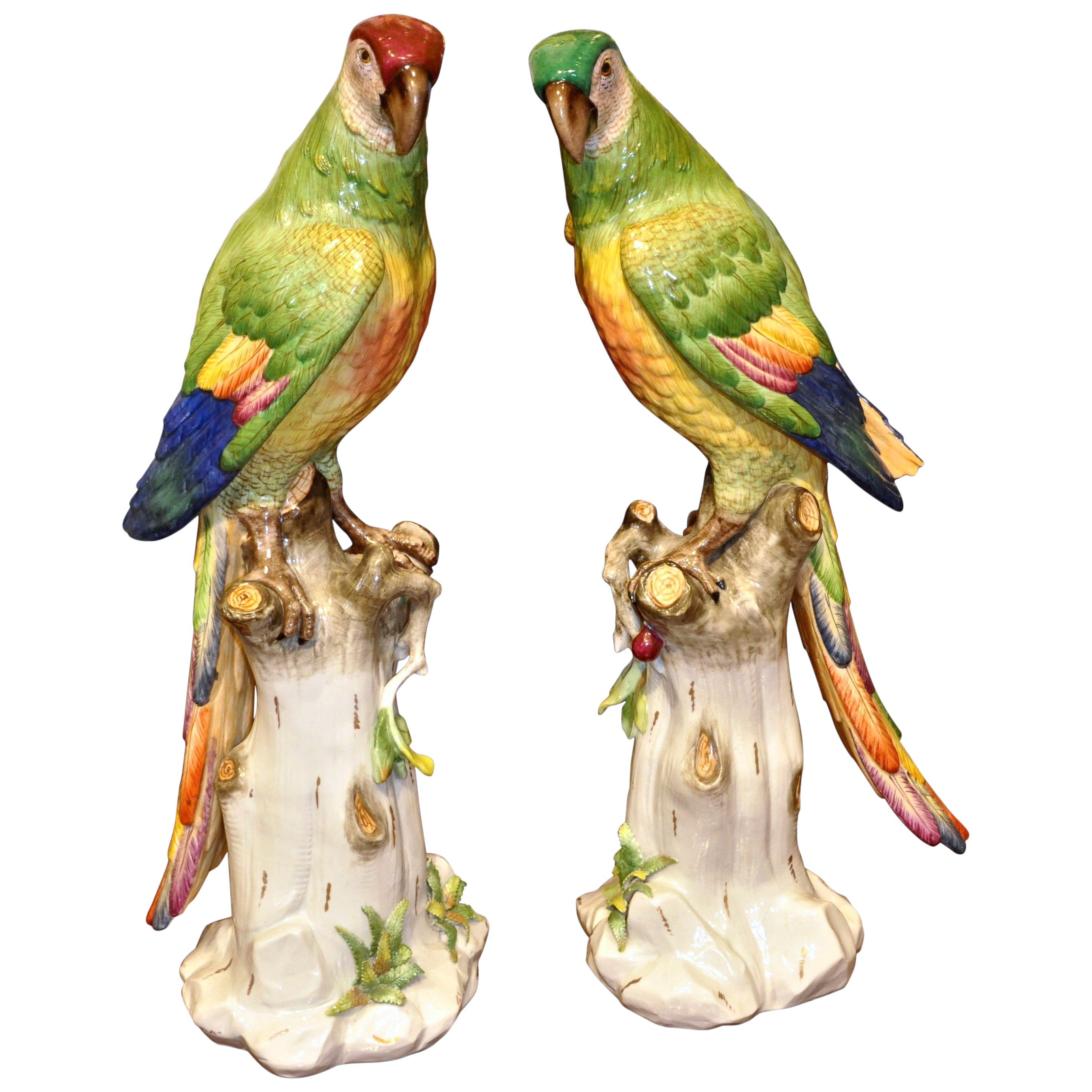 Pair of 19th Century Meissen Style Porcelain Parrots
