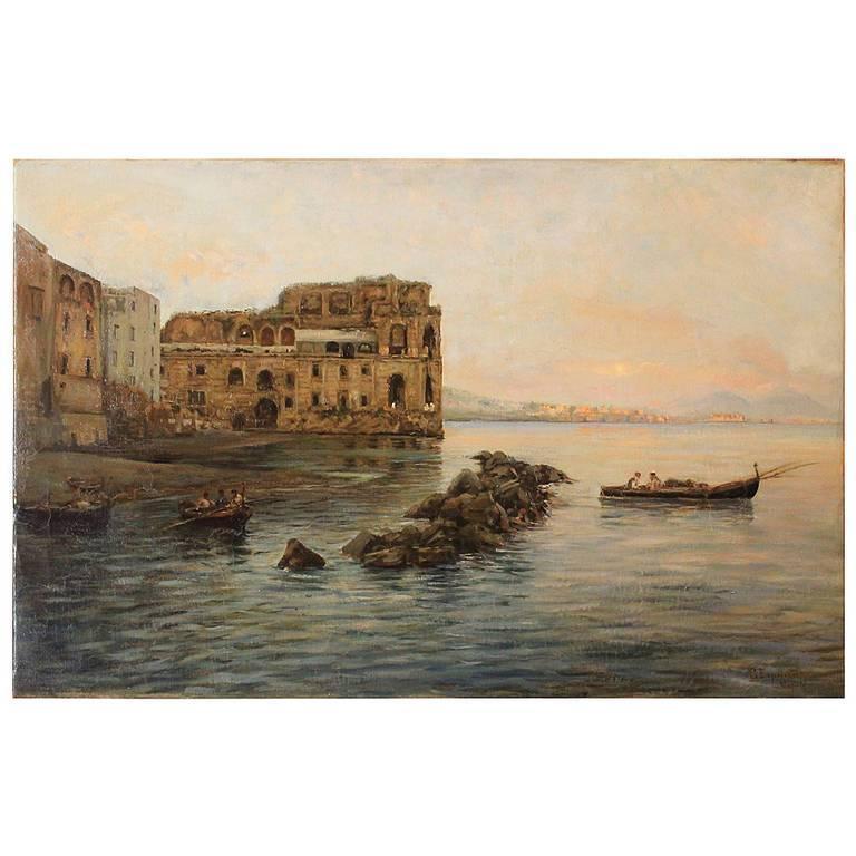 Italian 19th Century Impressionist Oil on Canvas Marine Landscape Painting