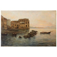 Italian 19th Century Impressionist Oil on Canvas Marine Landscape Painting