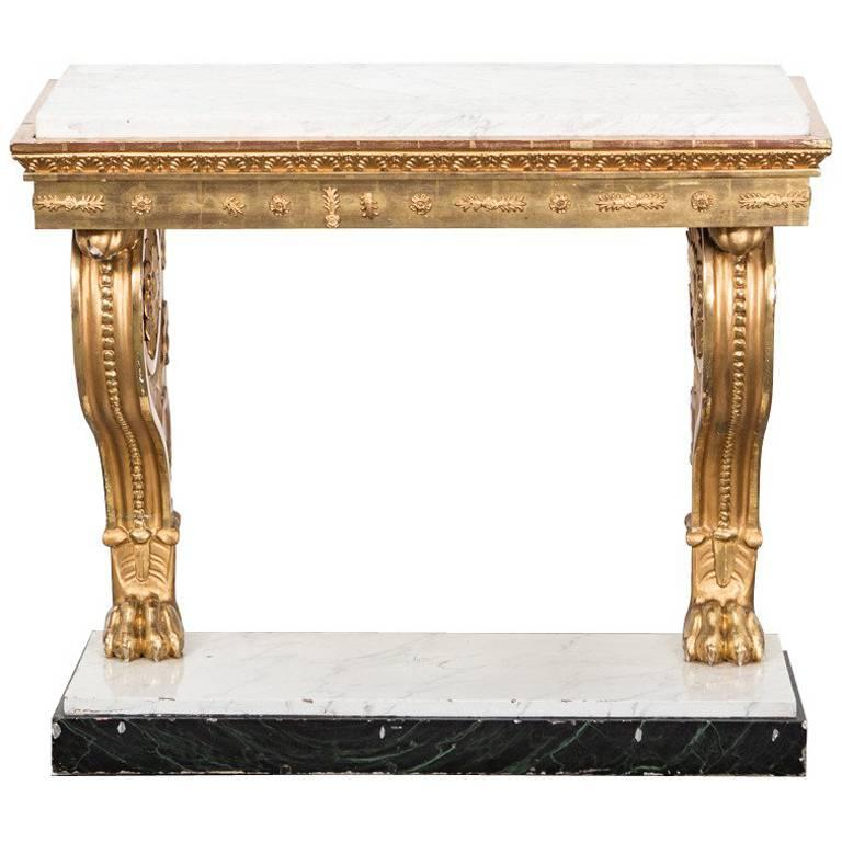 Table Console Swedish Gilded Carrara Marble Top Empire Neoclassical Sweden For Sale