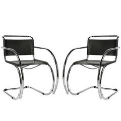 Pair of MR Arm Chairs by Mies Van der Rohe