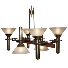 Six-Light Stilnovo Chandelier, Italy, 1950s