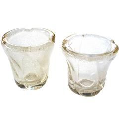 Pair of French Vases with Controlled Bubbles; Etched 'Daum-Nancy France'