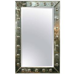 Bull's-Eye Antiqued Framed Venetian Wall/Console Mirror