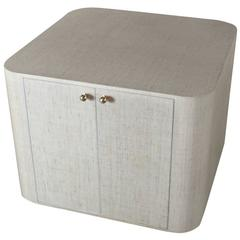 Springer Style Grass Cloth Covered Table Cabinet