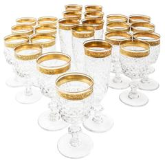 Highly Decorative Set of 24 French Cut Crystal and Gilt Goblets, circa 1950