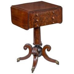 "Classical Mahogany Worktable with ""Cannon Ball"" Base, Boston or Salem"