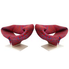 Pierre Paulin Ribbon Chairs Upholstered with Jack Lenor Larsen Fabric