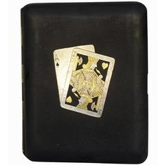 Rare Pre-War Japanese Damascene Playing Cards Cigarette Case
