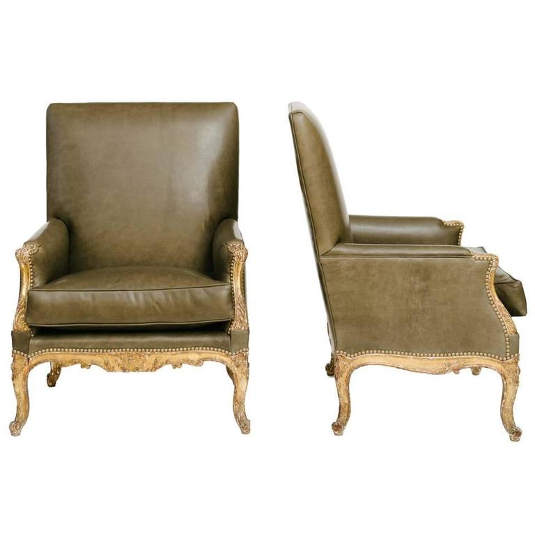 Pair of 19th Century French Louis XV Style Bergères For Sale