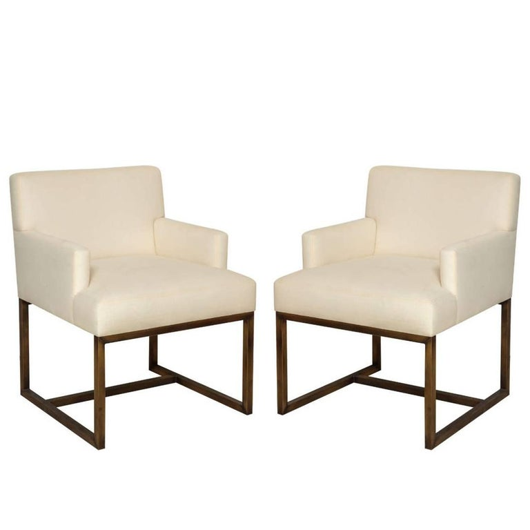 Pair of Modern Upholstered Armchairs on Square Brass Bases, France, circa 1975