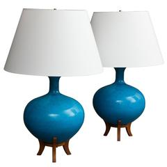 Pair of Large Midcentury Scandinavian Ceramic Table Lamps