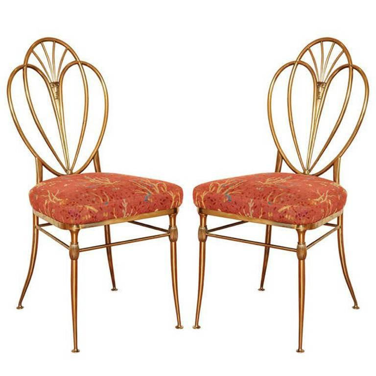 Set of 2 1960s Chiavari Brass Chairs