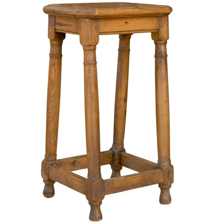 4 Legged Stool ~ French four legged pegged stool or pedestal from the late