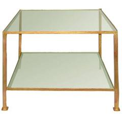 Custom-Made End Table with Sandblasted Glass